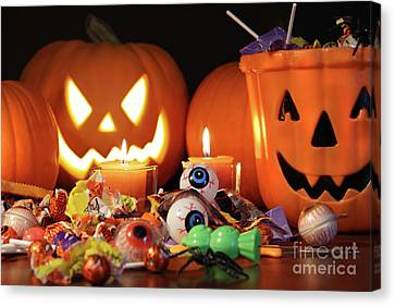 Closeup Of Candies With Pumpkins  Canvas Print by Sandra Cunningham