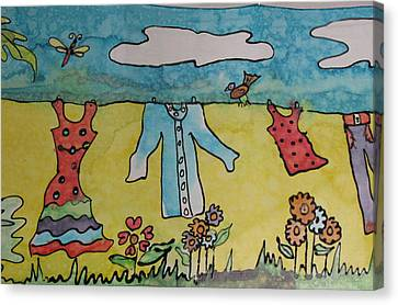 Clothesline Canvas Print by Yvonne Feavearyear