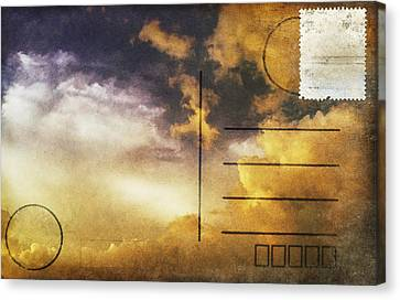 Cloud In Sunset On Postcard Canvas Print by Setsiri Silapasuwanchai