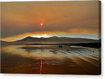Clouds And Sun In A Smoky Sky Canvas Print by Kirsten Giving