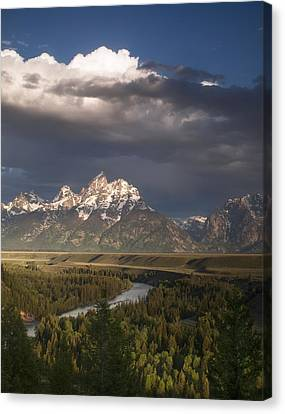 Clouds Over The Tetons Canvas Print by Andrew Soundarajan