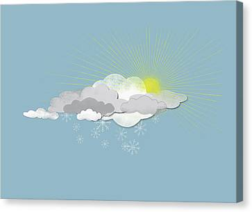 Clouds, Sun And Snowflakes Canvas Print