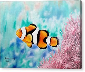 Clown Fish Canvas Print - Clown Anemonefish by Riley Geddings
