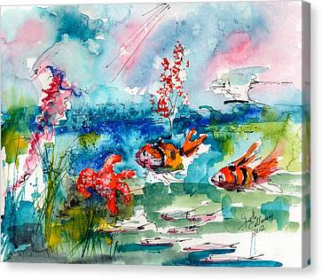 Clown Fish Deep Sea Watercolor Canvas Print by Ginette Callaway
