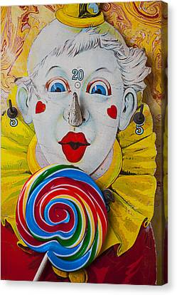 Cardboard Canvas Print - Clown Game And Sucker by Garry Gay