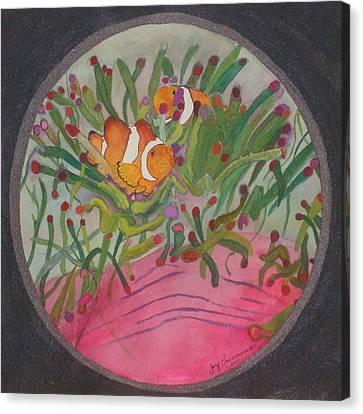 Canvas Print featuring the mixed media Clownfish Seen Through A Lense by Joy Braverman