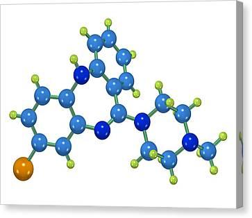 Psychiatric Canvas Print - Clozapine Antipsychotic Drug Molecule by Dr Mark J. Winter