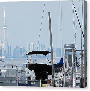 Port Credit Canvas Print - Cn Tower From Port Credit by Ian  MacDonald