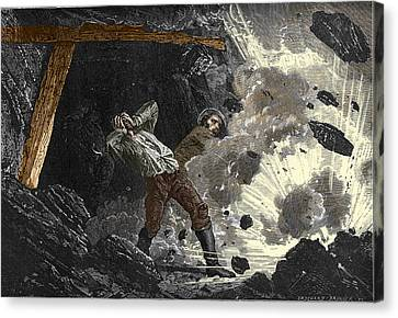 Coal Mine Explosion, 19th Century Canvas Print