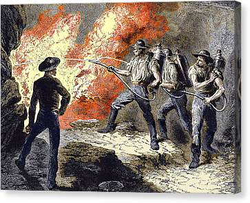 Coal Mine Fire, 19th Century Canvas Print by Sheila Terry