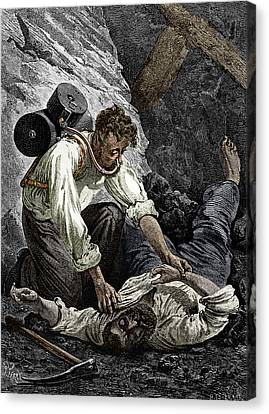Coal Mine Rescue, 19th Century Canvas Print by Sheila Terry