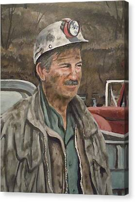 Canvas Print featuring the painting Coal Miner At Isabella Mine by James Guentner