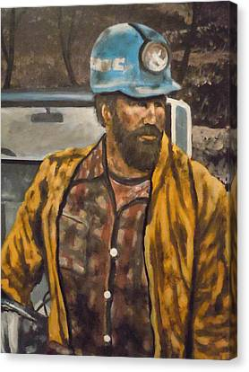 Canvas Print featuring the painting Coal Miner At Mariana Mine by James Guentner