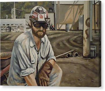 Canvas Print featuring the painting Coal Miner At Vestaburg Mine by James Guentner