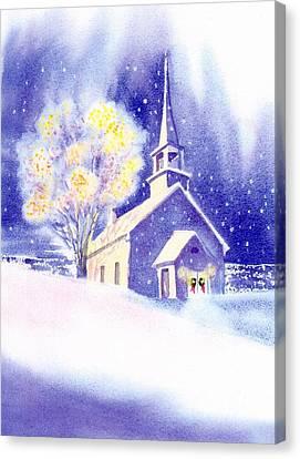 Coastal Church Christmas Canvas Print by Joseph Gallant