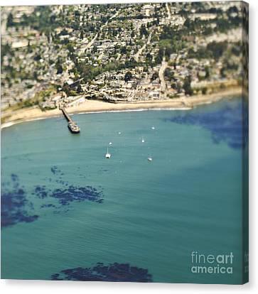 Coastal Community And Sailboats Canvas Print