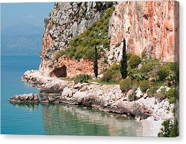 Canvas Print featuring the photograph Coastline Of Greece by Shirley Mitchell