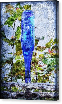Cobalt Blue Bottle Triptych 1 Of 3 Canvas Print by Andee Design