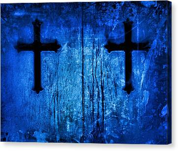 Cobalt Blue Cross Duo Canvas Print by Tony Grider