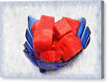 Snack Canvas Print - Cobalt Blue Watermelon Boat by Andee Design
