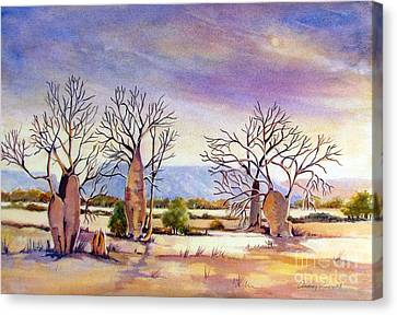Cockburn Range With Boab Trees In The Kimberley Wa Canvas Print by Audrey Russill
