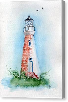 Canvas Print featuring the painting Cockspur Lighthouse 2 by Doris Blessington