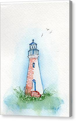 Canvas Print featuring the painting Cockspur Lighthouse by Doris Blessington