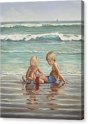 Cocoa Beach Sandcastles Canvas Print by AnnaJo Vahle