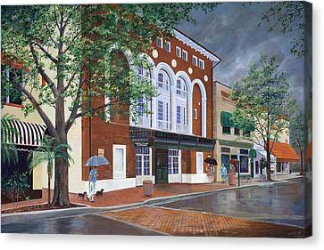 Canvas Print featuring the painting Cocoa Village Playhouse by AnnaJo Vahle