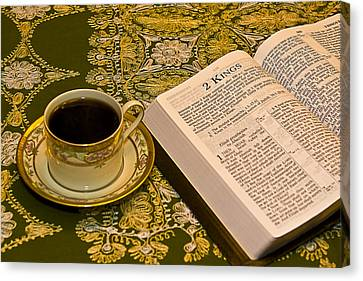 Coffee And Bible Canvas Print by Trudy Wilkerson