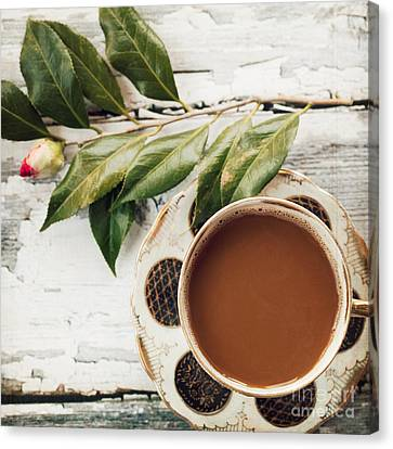 Coffee And Camellia Canvas Print by Kim Fearheiley