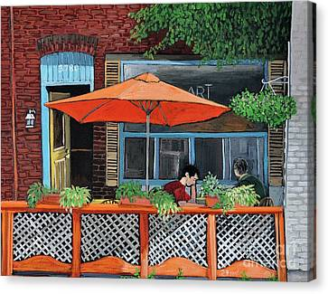 Coffee At Nu Art Cafe Verdun Canvas Print by Reb Frost