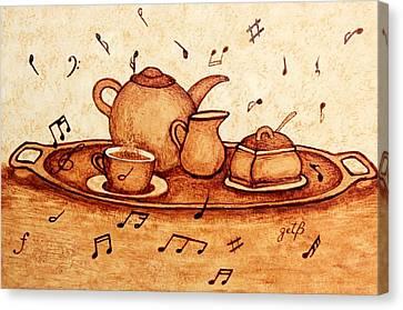 Coffee Break 2 Coffee Painting Canvas Print by Georgeta  Blanaru