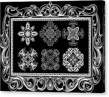 Coffee Flowers Ornate Medallions Bw 6 Piece Collage Framed  Canvas Print by Angelina Vick
