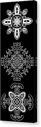 Coffee Flowers Ornate Medallions Bw Vertical Tryptych 1 Canvas Print by Angelina Vick