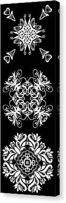 Coffee Flowers Ornate Medallions Bw Vertical Tryptych 2 Canvas Print