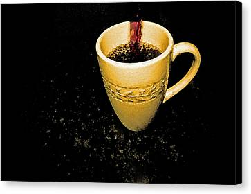 Coffee In The Big Yellow Cup Canvas Print