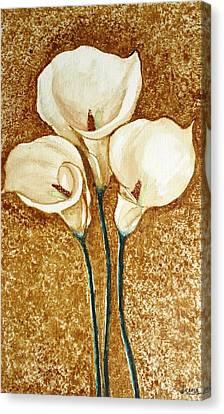 Coffee Painting - Flowers Canvas Print by Rejeena Niaz