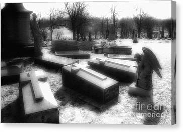 Coffins And Angel Canvas Print by Jeff Holbrook