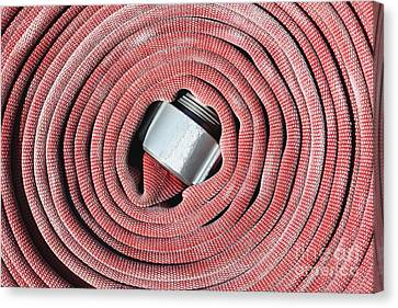 Not In Use Canvas Print - Coiled Fire Hose by Skip Nall