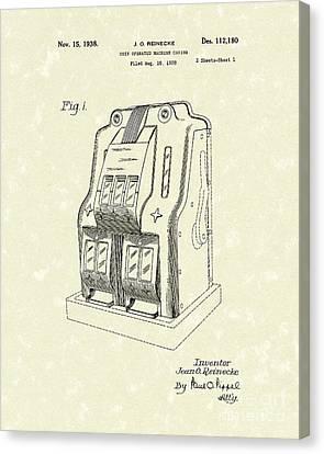 Coin Operated Casino Machine 1938 Patent Art Canvas Print by Prior Art Design