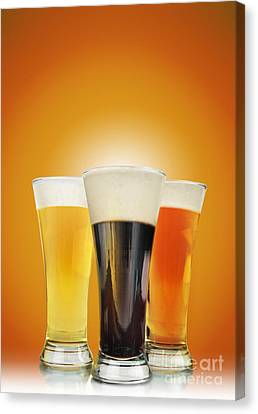 Cold Alcohol Beer Drinks On Gold Canvas Print by Angela Waye