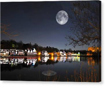 Cold Winter's Night On Boathouse Row Canvas Print by Elaine Plesser