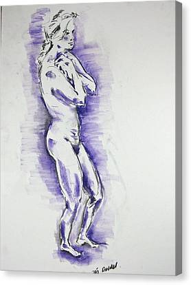 Canvas Print featuring the pastel Cold Woman by Brian Sereda