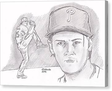 Canvas Print featuring the drawing Cole Hamels by Chris  DelVecchio
