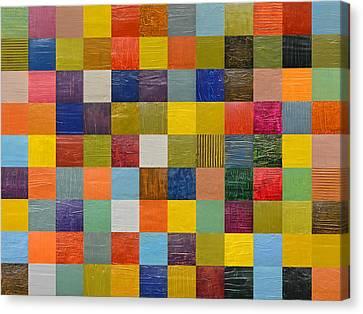 Quilt Blue Blocks Canvas Print - Collage Color Study 108 by Michelle Calkins