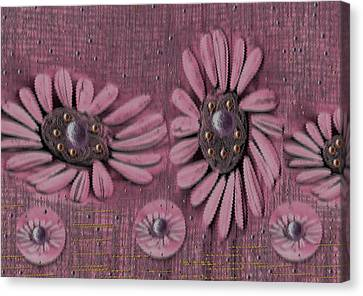 Collage Flowers In Pink Canvas Print