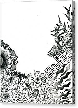 Collage Of Symbols Canvas Print by Tessa Hunt-Woodland