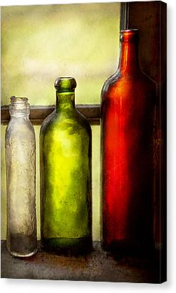Collector - Bottles - Still Life Of Three Bottles  Canvas Print by Mike Savad