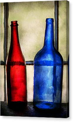 Collector - Bottles - Two Empty Wine Bottles  Canvas Print by Mike Savad